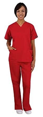 Medical Scrubs - Cherokee Uniforms Authentic Workwear Women's Two Pocket Top and Flare Leg Pant Scrub Set (Aloe, XX-Small)