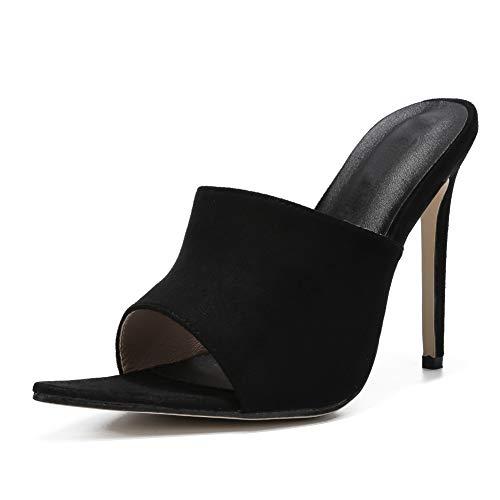 - LIURUIJIA Women's Crossdressing Sandals Slide Stiletto High Heels Plus Size black-38