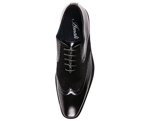 Smooth Velvet Dress up Oxford and Spectator Mens Black Style Lace Wingtip Floral Shoe Greyson Amali awqBEIM