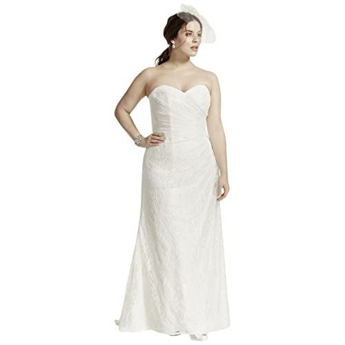 50off Strapless Lace Over Satin Plus Size Wedding Dress Style