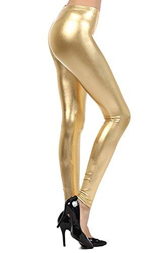 Crazy Girls Womens Ladies Metallic Shiny Glanz Squad Costume Wet Look Leggings (M/L-US8/10, Gold) -