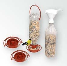 Gadjit 3 Hanging Wild Bird Feeder Kits (Terra Cotta) & 1 Free Twist-on Bird Seed Filling Funnel Promotes Plastic Bottle Re-use Pack of 3, Spring Bird Feeding