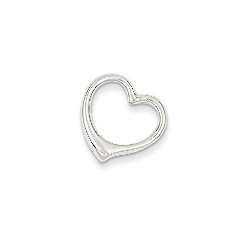 Polished Heart Slide (14k White Gold Polished Cut Out Heart Slide)