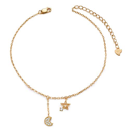 SHEGRACE Star and Moon Anklet, 925 Sterling Silver Charms Anklet Bracelet for Women Beach, Casual ()