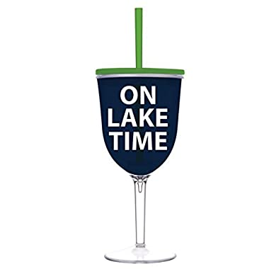 On Lake Time - 13 oz Acrylic Wine Glass With Lid and Straw - Perfect Lake Cup