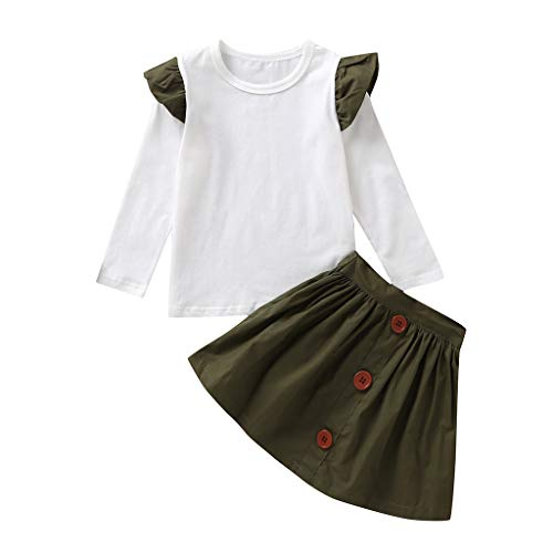 Luonita Toddler Baby Kid Girls Ruched T-Shirt Tops Blouse Solid Skirt Dress Casual Cute Clothes Set Outfits Sutis for 6M-4Y (Life Jackets Belt 12')
