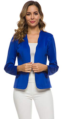 Women's One Button Slim Fit Casual Office Work Blazer Suit Jacket Royal Blue, XX-Large(US 20-22)