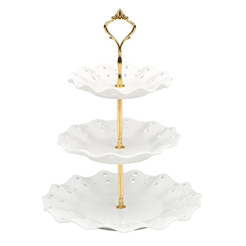(3 Tier Vintage Style White Ceramic Dessert Cupcake Display Stand with Gold-Tone Handle)