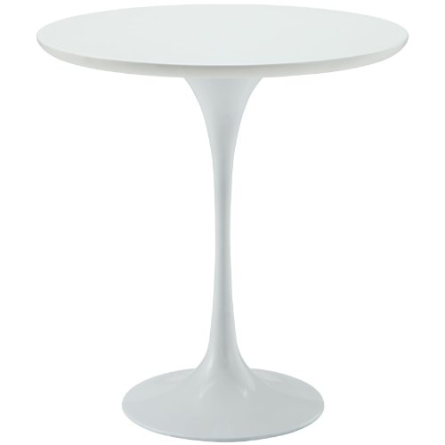 """Modway EEI-271-WHI Lippa Mid-Century Modern 20"""" Round Side Table, White Base"""