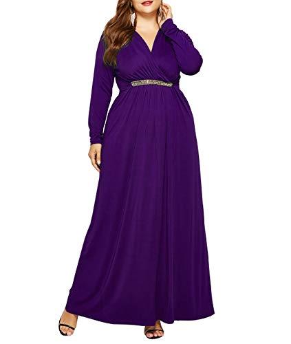 Lalagen Women Plus Size Casual Long Sleeve V Neck Evening Party Long Maxi Dress Purple M