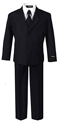 - US Fairytailes Formal Boys Suit from Baby to Teen (Medium/6-12 Months, Black)