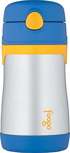 THERMOS FOOGO Vacuum Insulated Stainless Steel 10-Ounce Straw Bottle, Blue/Yellow (Sippie Cups For Toddlers compare prices)