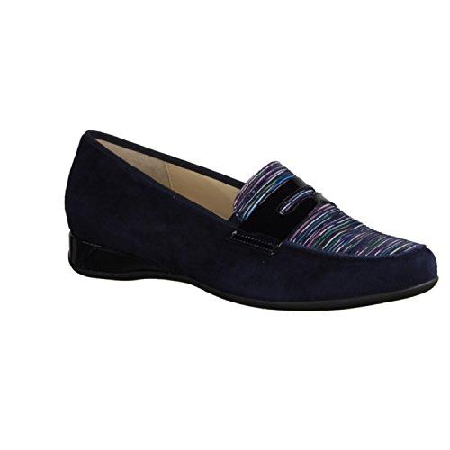 Hassia Petra 301772-353 - Zapatillas Tipo Slip Para Mujer / Mocasínes, Azul, cuero (cabra de terciopelo), altura de tacón: 20 mm