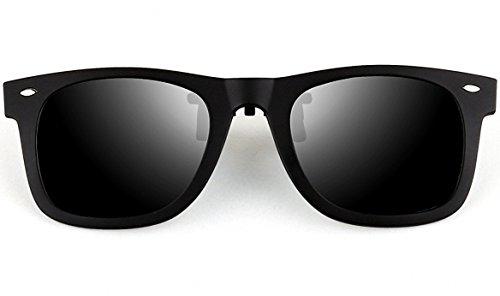 6e4206bce37 ATTCL Unisex New Unisex Reflective Wayfarer Style Flip Up Clip on Polarized  Sunglasses 1HP806 Black