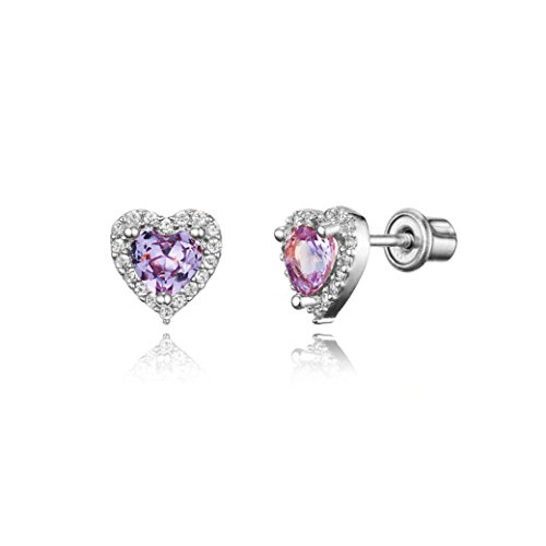 925 Sterling Silver Rhodium Plated Light Purple Heart Cubic Zirconia Screwback Baby Girls (Silver Plated Light)