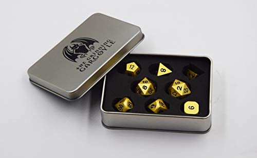 Grinning Gargoyle WCN-3001 - Metal Dice Set - Pearl Gold Polyhedral x8 - Deluxe DnD RPG Presentation Box - Includes 2x 20 Sided Die - Roleplaying Game