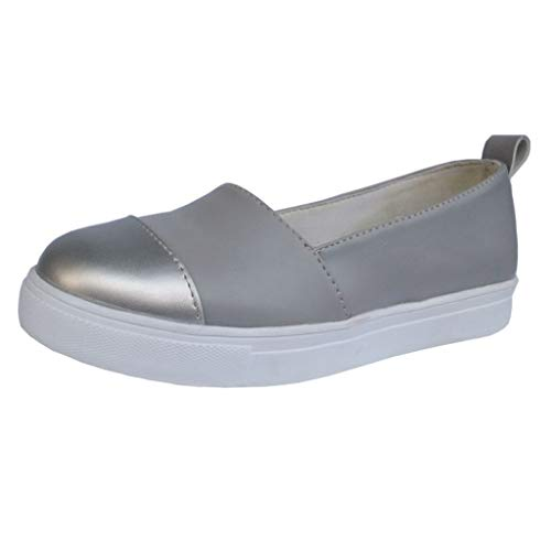 (Aunimeifly Ladies Slip-on Loafers Solid Color Round Toe Shoes Women Summer Casual Thick Bottom Flats Silver)