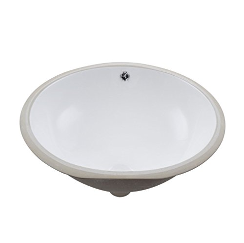 KES Bathroom Oval Porcelain Undermount Sink White Undercounter Sink for Lavatory Vanity Cabinet Contemporary Style with Overflow, BUS100 (Oval Vanity Sink)