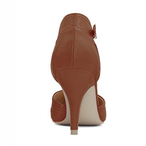 K Donne Della Punto Cinturino Stiletto Tallone Punta Allegra Dello Delle Caviglia Pompe Marrone nqawHwIxP7