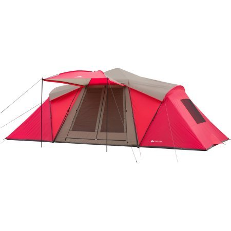 Ozark Trail 21' x 10' 3-Room Instant Tent with Awning, Sleeps 12, Red by Ozark Trail