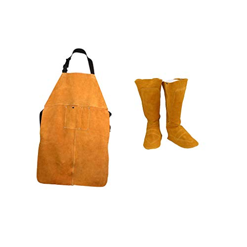 Fityle 2pcs/Set Welding Protective Shoes Shoe Spats and Apron Anti-Scald Fireproof