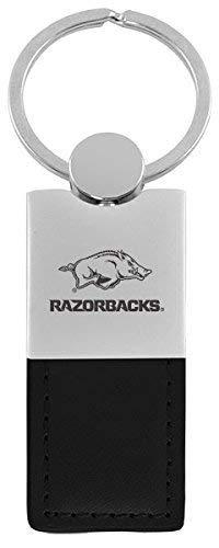 (University of Arkansas-Leather and Metal Keychain-Black)