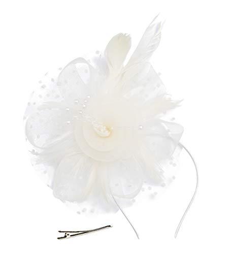 Cizoe Flower Cocktail Tea Party Headwear Feather Fascinators Top Hat for Girls and Women(1-Beige)