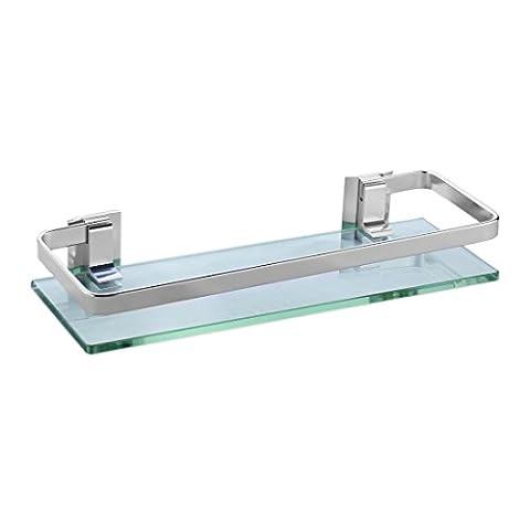 Joyoldelf Thickened Glass Aluminum Bathroom Shelf Rack Wall Mounted Kitchen Storage Shelf, Rectangle