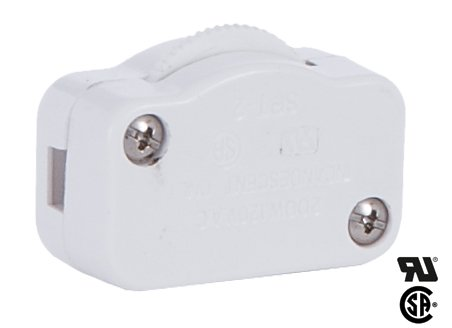 B&P Lamp White Hi-Low Inline Dimmer Switch For 18/2 Spt-2 Lamp Cord