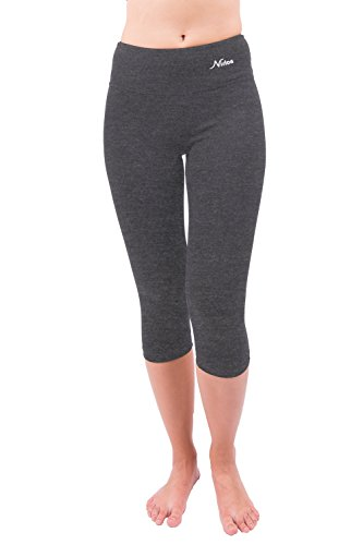 Cropped Pants Cotton (Nirlon Capri Yoga Pants Capri's for Women Best Cropped Leggings Athletic Running Jogging Workout & Sport Cotton Spandex (L, Charcoal 18