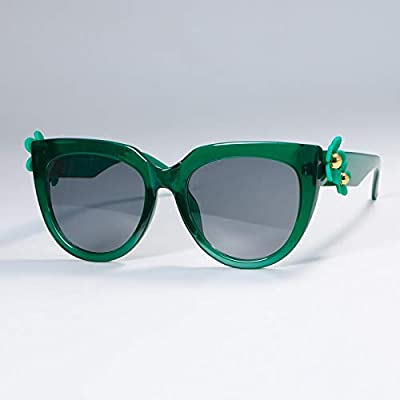 NSYJDSP Flor Mujer Ojo de Gato Gafas de Sol Moda UV400 Gafas Vintage 51004 Negro Gris: Deportes y aire libre