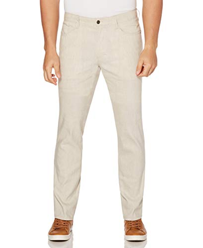 (Cubavera Men's Linen-Blend 5-Pocket Pant with Stretch, Natural, 34W x 30L)