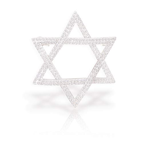OBONNIE Crystal Hollow Out Hexagram Brooch Pin Star of David Badge Wedding Party Jewelry for Women Men (Silver)