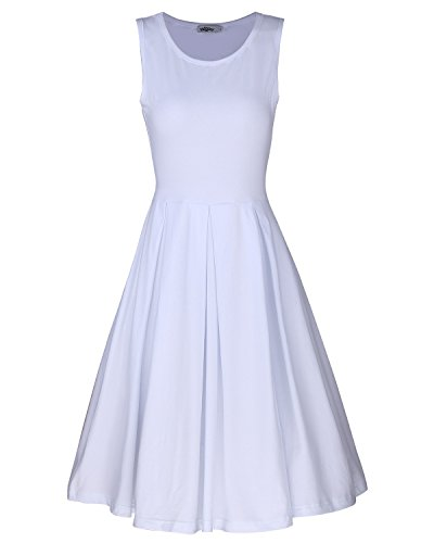 eeveless Casual Cotton Flare Dress(White,XXL) ()