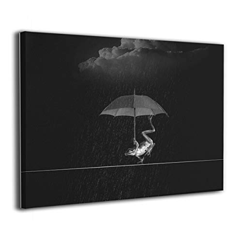 (GenKong Frog Holding Umbrella in Rainy Day Wall Art Picture Print On Canvas Modern Oil Painting for Home Decor Abstract Paintings)