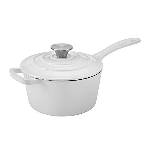 Hamilton Beach 2 Quart Enameled Coated Cast Iron Round Sauce Pan with Lid, White