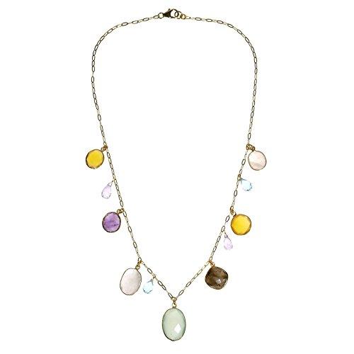 - AeraVida Rainbow Dream Natural Multi Stone Dangle Gold Plated Sterling Silver Necklace