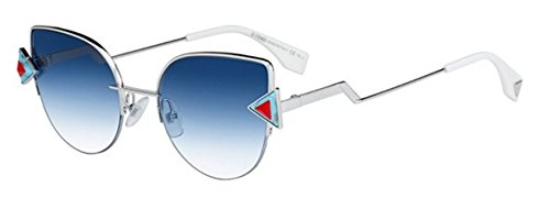 New Fendi RAINBOW FF 0242/S SCB/NE silver light blue red/blue shaded Sunglasses