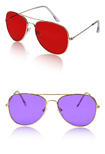 - 70s 70's Glasses For Women Men Costume Teen Festival Two Pack Gold Red Purple