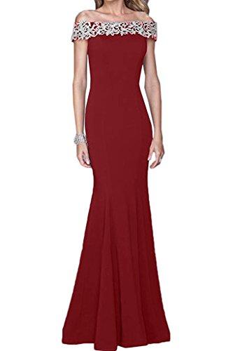 ivyd ressing Mujer sueño antiadherente U de pico Funda de línea Punta Fiesta Vestido Prom vestido fijo para vestido de noche Rojo