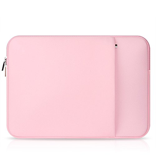 elecfan Laptop Sleeve Pouch,Compatible 15.6 Inch MacBook Pro Notebook Computer Samsung iPad Tablet,Multi-functional Briefcase Zipper Bag, Business Carrying Case with Pocket for Women - Pink by elecfan