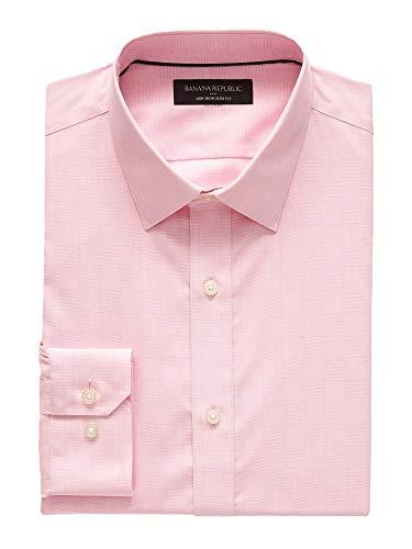 (Banana Reublic Mens Slim-Fit Non-Iron Yarn Dye Shirt, Classic Pink (L))
