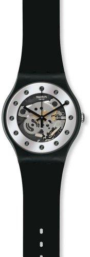 Swatch Watch - Swatch Unisex SUOZ147 Silver Glam Analog Display Quartz Black Watch