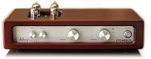 Stereo HiFi Turntable Tube Amplifier with HD Bluetooth. Xtonebox Silver 6011 Home Audio Rosewood