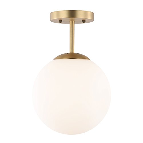 Glass Dia Top (Light Society Tesler Globe Semi Flush Mount Ceiling Light, Matte White with Brass Finish, Contemporary Mid Century Modern Style Lighting Fixture (LS-C176-BRS-MLK))