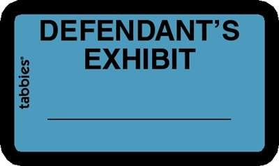 Tabbies 58093 Legal Exhibit Labels Defendant's Exhibit 252 Tabs Easy to Use Self Adhesive Blue with Black Letters