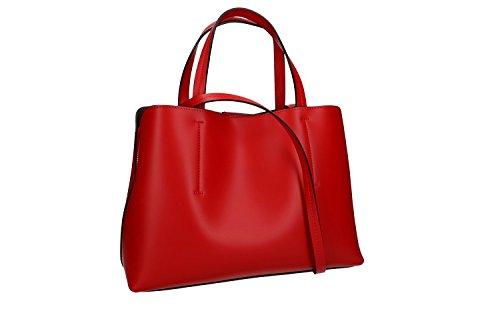 Borsa donna a mano con tracolla PIERRE CARIN rosso pelle Made in Italy VN935