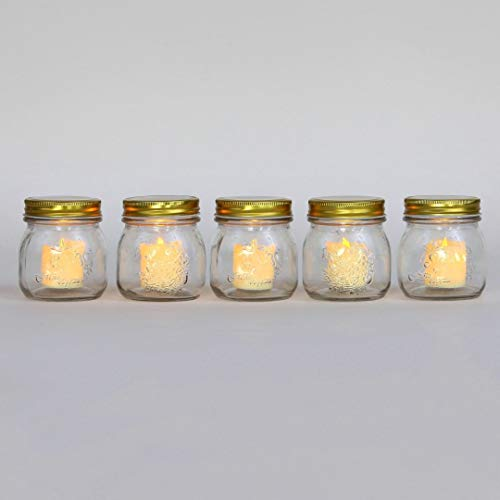 Glass Jar Votive Candle Holders - Mason Jars with Flameless Resin Flickering Votives, 3.5 Inch Height, Rustic Wedding Centerpiece, Batteries Included, Indoor Outdoor Use - Set of -