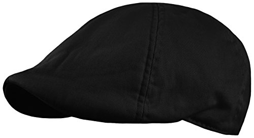 Men's Plain Cotton Duckbill Ivy Cap, Cabbie, Driving Hat, Golf Cap (Plain Black, Small/Medium) (Pub Cap Black)