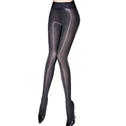 ❤️Women's Sheer Tights Stockings Oil Shiny Stockings Pantyhose Sexy Silk Pantyhose (Black)